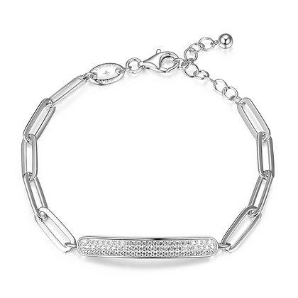 Silver Paper Clip Link Bracelet With Cubic Zirconia Bar