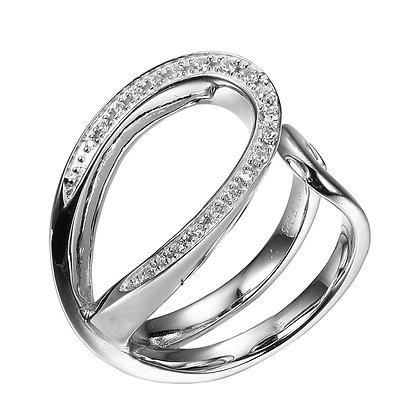 Silver Open Ribbon Cubic Zirconia Ring