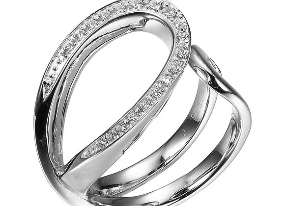 Silver Open Ribbon Cubic Zirconia Ring
