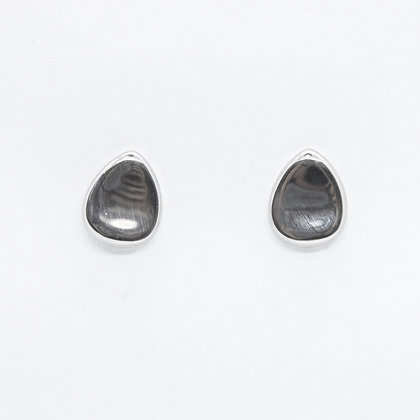 Silver Teardrop Shaped Stud Earrings