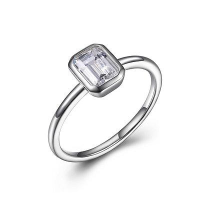 Silver Emerald Cut CZ Ring