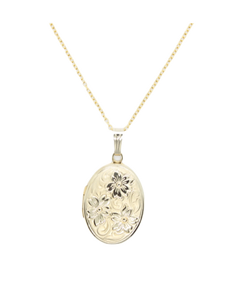 Yellow Gold Oval Locket With Flower Detailing