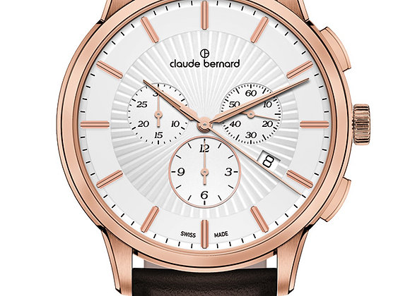 Pink Metal & Brown Leather Watch by Claude Bernard