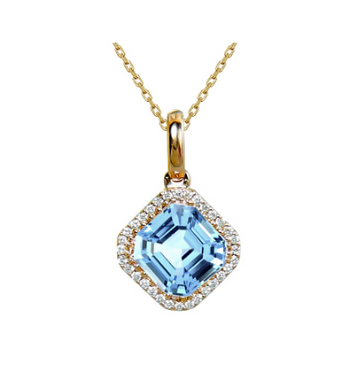 Asscher Cut Blue Topaz Pendant With Diamond Halo