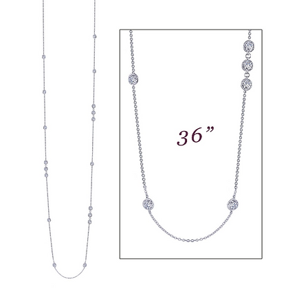 Silver Long Necklace With Stationed Simulated Diamonds