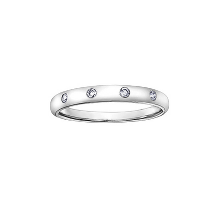 Four Stone Bezel Set Diamond Stackable Ring