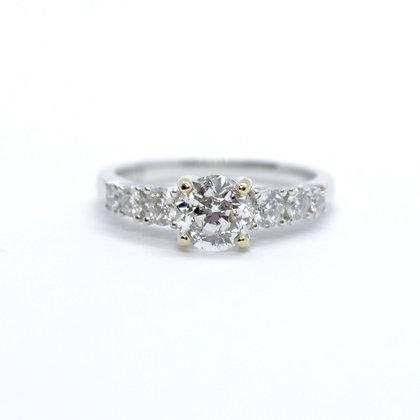 Round Cut Diamond Engagement Ring With Diamond Band