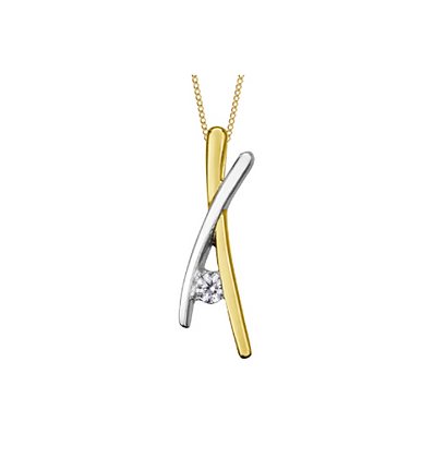 Double Bar Crossed Pendant With Canadian Diamond