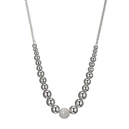 Silver Bead Strand Necklace With Cubic Zirconia Accent