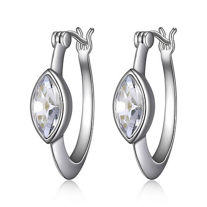 Silver Hoops With Marquise Swarovski Crystal