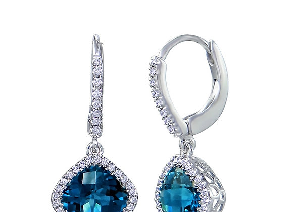Blue Topaz Cushion Cut Drop Earrings