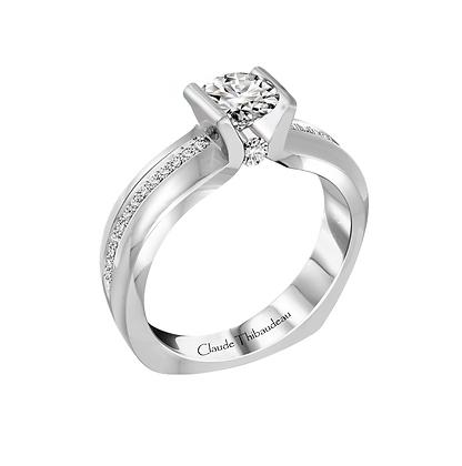 Claude Thibaudeau Round Engagement Ring With Surprise Diamond
