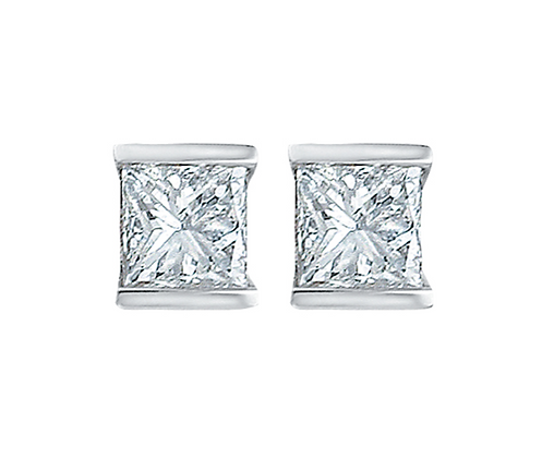 Princess Cut Canadian Diamond Tension Set Studs (0.14 carat)