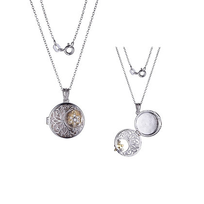 Silver Round Locket With Flower & Filigree Detailing