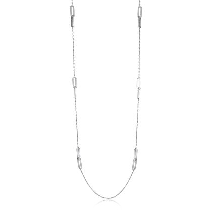 """Silver Rolo Chain With Cubic Zirconia Paper Clip Link Accents (36"""")"""