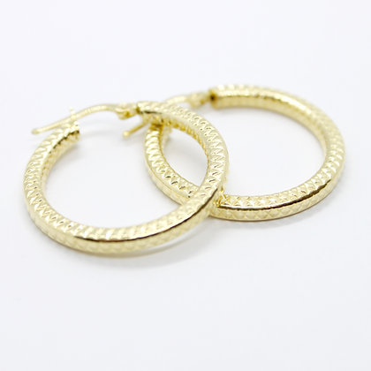 Yellow Gold Textured Round Hoops (25mm)