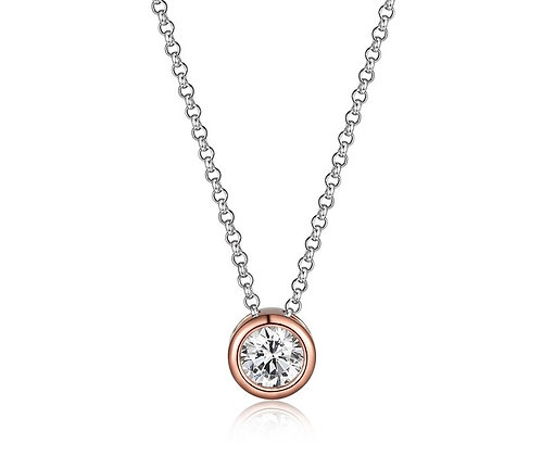 Two Tone Silver & Rose Round Cubic Zirconia Pendant