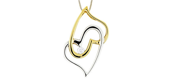 Two Tone Gold Double Heart & Canadian Diamond Pendant