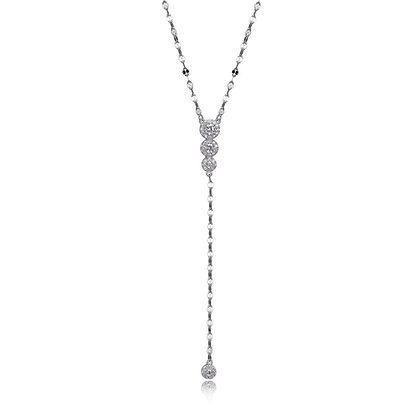 Round Cubic Zirconia Four Stone Drop Necklace
