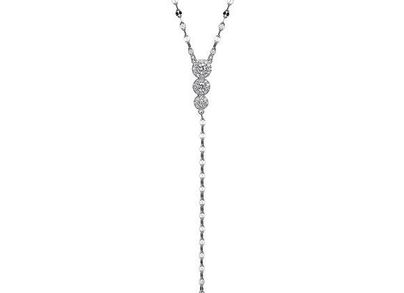 Round Cubic Zirconia Four Stone Drop Necklace