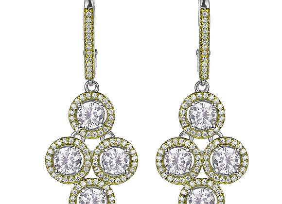 Two Tone Round Halo Cluster Earrings