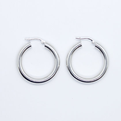 White Gold Round Hoops (25mm)