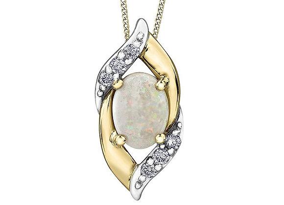 Oval Opal Two Tone Pendant