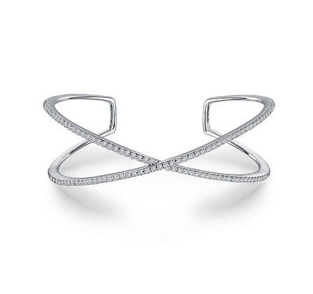 Silver Criss Cross Cuff Bracelet With Simulated Diamonds