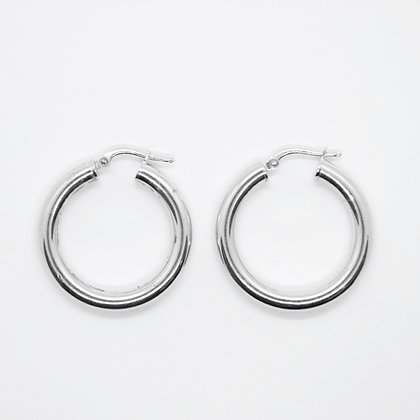 White Gold Round Hollow Hoops (30mm)