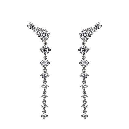 Cubic Zirconia Cascading Drop Earrings