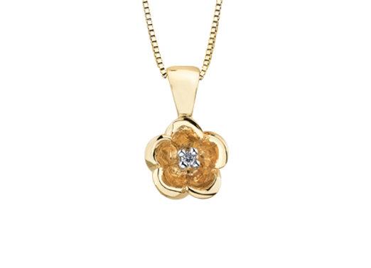 Yellow Gold Flower & Canadian Diamond Pendant