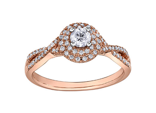 Rose Gold Brilliant Cut Diamond Ring With Double Halo