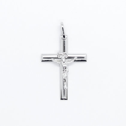 White Gold Smooth Crucifix Pendant (20mm)