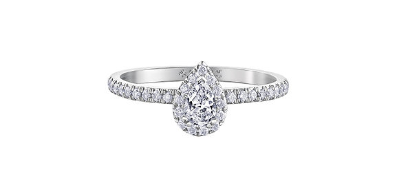 Canadian Diamond Pear Halo Engagement Ring