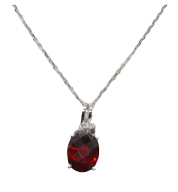Oval Cut Checkerboard Garnet Pendant
