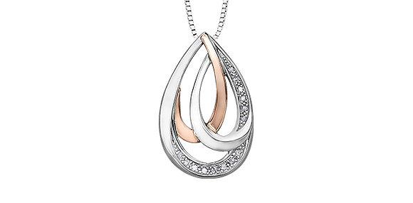 Two Tone Diamond Pear Pendant