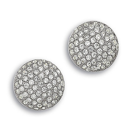 Silver Round Pave Set Cubic Zirconia Earrings