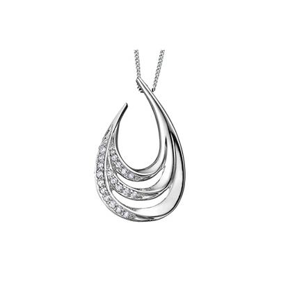 Layered Open Teardrop Diamond Pendant