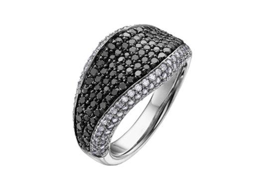 White and Black Diamond Statement Ring