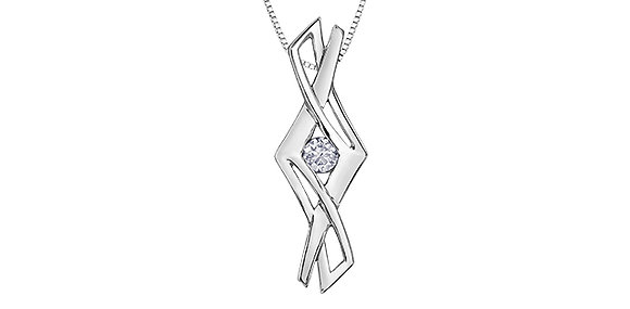 Silver Criss Cross Canadian Diamond Pendant