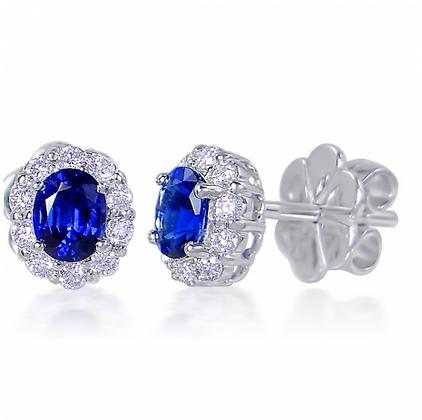 Oval Sapphire Studs With Scalloped Diamond Halo