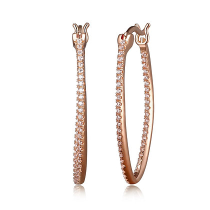 Rose Gold Plated Cubic Zirconia Hoops