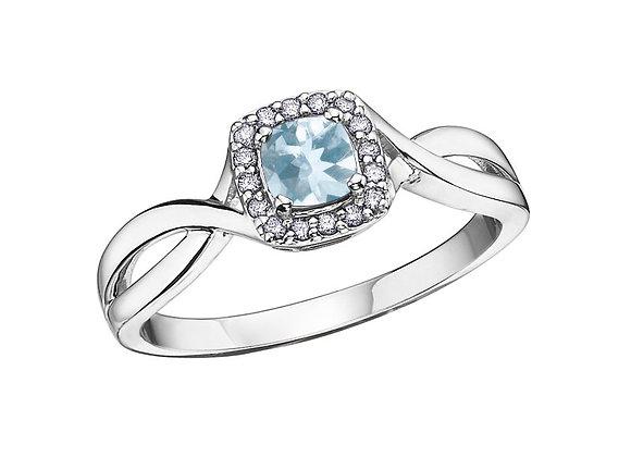Aquamarine Cushion Cut & Halo Ring