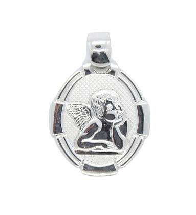 White Gold Oval Angel Pendant