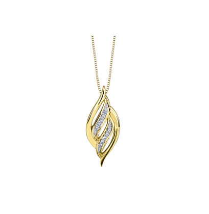 Yellow Gold Twisted Oval Diamond Pendant