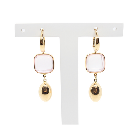Yellow Gold & Rose Quartz Drop Earrings