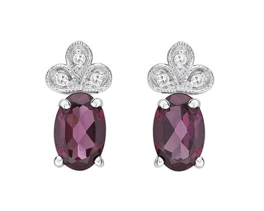 Oval Cut Rhodolite Earrings