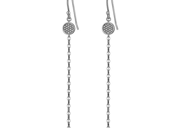 Silver Chain & Round Cubic Zirconia Earrings