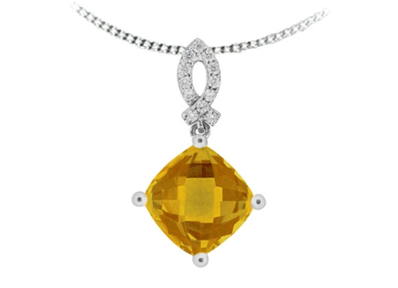 Cushion Cut Citrine Drop Pendant
