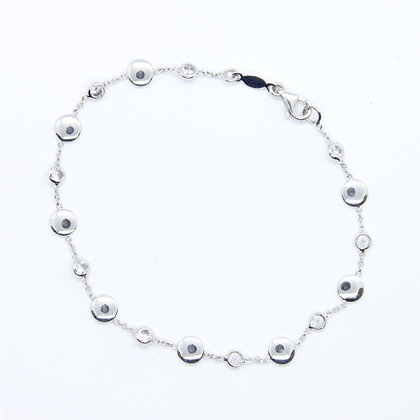 White Gold Rolo Chain Bracelet With Round CZ Accents